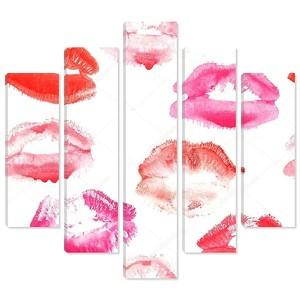 Рука нарисованные моды Иллюстрация помады поцелуй. Женщины бесшовный фон с красными губами. Романтический фон