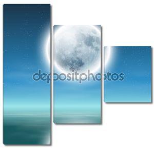 Полная Луна с отражением на воде в ночное время.