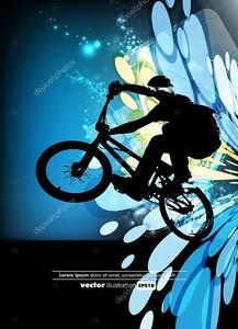 Велосипедист на голубом фоне