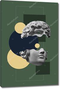 Коллаж с гипсовой антикварной скульптурой человеческого лица в стиле поп-арт. Современный креативный концептуальный образ с древней головой статуи. Культура зине. Плакат современного искусства. Фанки-минимализм. Ретро дизайн.