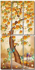 Разноцветные олени под сакурой