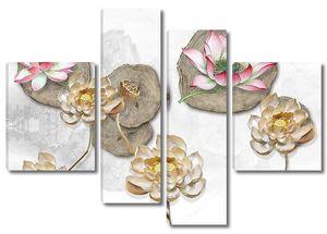 3d иллюстрация, белый фон, четыре разделенных деревьев, большие и бежевые водяные лилии