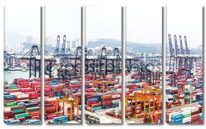 контейнеры в торговый порт Гонконга