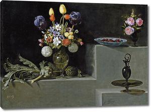 Хуан Ван дер Хамен.Натюрморт с артишоками, цветами и стеклянной посудой