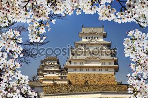 Замок и цветущая вишня