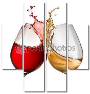 брызги вина в две рюмки