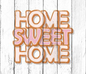 Домашний сладкий дом. Бисквитные мультфильм Рука нарисованные письма. Милый дизайн в пастельные розовый цвета. Изолированные на белом фоне.
