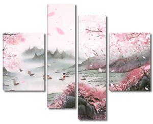 Японский пейзаж в розовых тонах