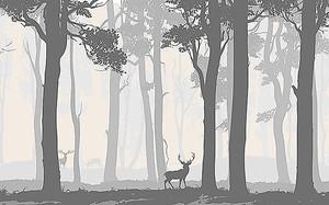 Олень в сером лесу