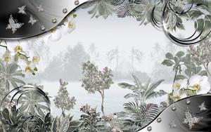 Растительная композиция внутри стальной рамки