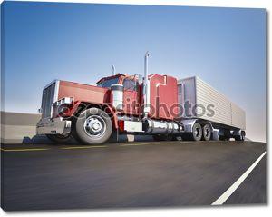 Большой грузовик с 18 колесами