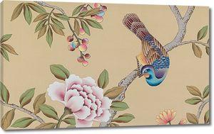 Разноцветная голубка на ветке