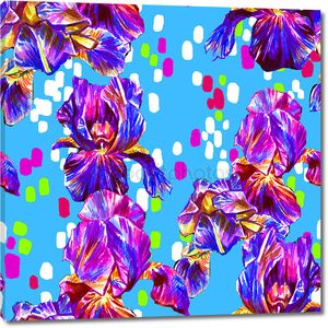 Bright colorful seamless pattern with flowers . iris flowers with decorative elements .
