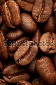 кофе в зернах фона, макро крупным планом