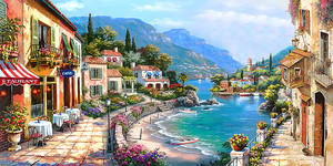 Улица с кафе вдоль побережья