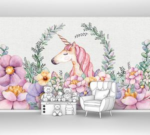 Единорог среди цветов