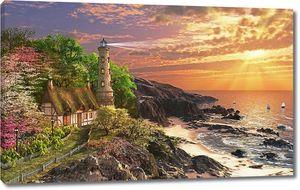 Дом у маяка на скалистом берегу