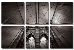 Бруклинский мост в Нью-Йорке сепия