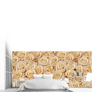 Creamy roses bouquet seamless pattern