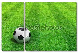 Зеленый Полосатый футбольное поле с футбольным мячом