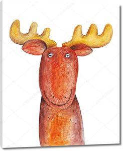 Смешной рисованный олень