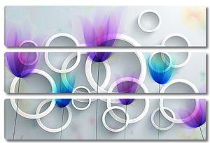 Кольца с абстрактными тюльпанами