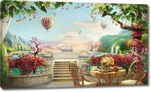 Уличное кафе рядом воздушными шарами