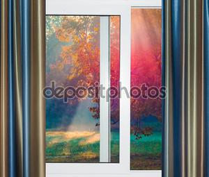 Вид из окна на восход солнца