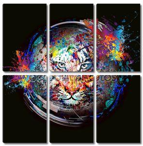 Абстрактный фон с тигром