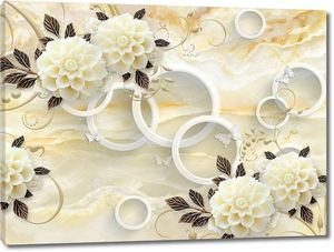 Бежевый мраморный фон, белые кольца, светлые  цветы с темными листьями