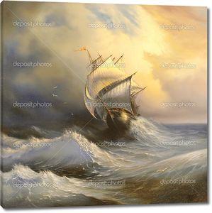 Древние парусное судно в бурном море