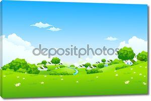Зеленый пейзаж с домами