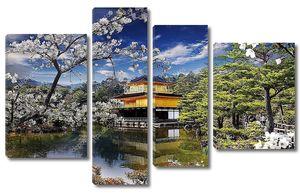 Красивые Сакура с золотой цвет храм