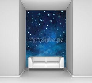вектор ночное звездное небо.