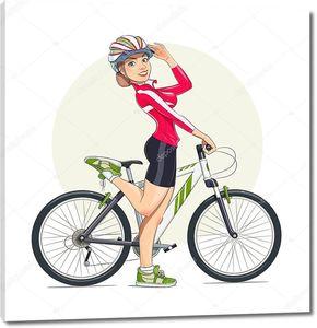 красивая девочка в шлеме с горным велосипедом. спорт.