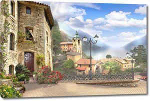 Солнечная улица с кирпичными домами