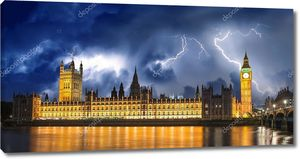 Буря над Биг Бен и палаты парламента - Лондон