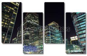 Небоскребы Canary Wharf ночью, Лондон, Великобритания