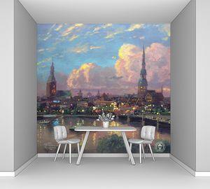 Фреска с видом на ночной город