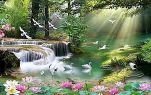 Лесное озеро с журавлями
