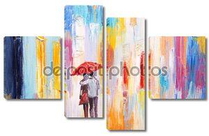 Пара гуляет под дождем под зонтиком