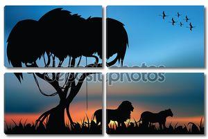 Лев и львица в африканской саванне
