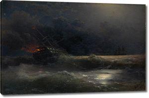 Айвазовский. Горящий корабль