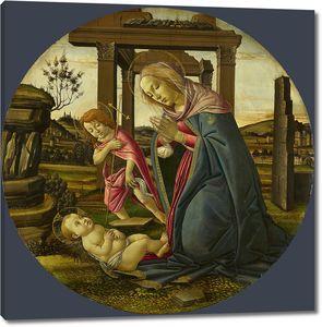 Боттичелли Сандро. Мадонна и Иоанн Креститель, поклоняющиеся Младенцу Христу