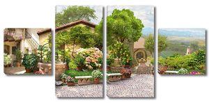 Красивая улица с прекрасными цветами