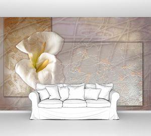 Белые каллы на абстрактном фоне