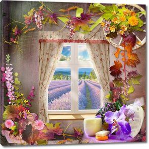 Вид из окна на цветочное поле