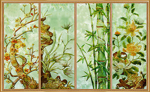 Витраж из четырех цветочных тем