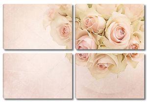 Розовые розы в вазе на акварельном фоне