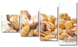 Свежий белый хлеб на белом фоне